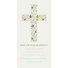 Christening + Baptism Flat Glossy Photo Paper Cards with Envelopes, 4x8, Card & Stationery -Baptism Floral Print Cross