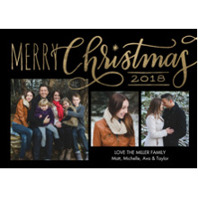 Christmas Photo Cards 5x7 Cards, Premium Cardstock 120lb with Rounded Corners, Card & Stationery -Christmas 2018 Red Script by Tumbalina