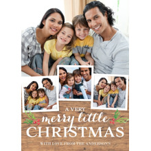 Christmas Photo Cards 5x7 Cards, Premium Cardstock 120lb with Elegant Corners, Card & Stationery -Christmas Wood Grain Holly
