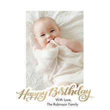 Birthday Greeting Cards 5x7 Folded Cards, Premium Cardstock 120lb, Card & Stationery -Birthday Gold Script