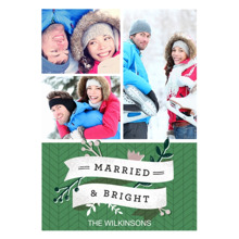 Christmas Photo Cards 5x7 Cards, Premium Cardstock 120lb with Elegant Corners, Card & Stationery -Married & Bright