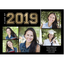 2019 Graduation Announcements 5x7 Cards, Premium Cardstock 120lb with Scalloped Corners, Card & Stationery -2019 Grad Collegiate by Tumbalina