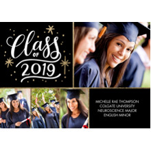 2019 Graduation Announcements 5x7 Cards, Premium Cardstock 120lb with Scalloped Corners, Card & Stationery -2019 Class of Lettering by Tumbalina