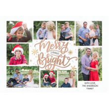 Christmas Photo Cards 5x7 Cards, Premium Cardstock 120lb with Rounded Corners, Card & Stationery -Christmas Merry and Bright Holly by Tumbalina