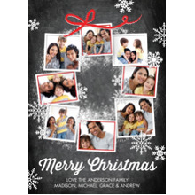 Christmas Photo Cards 5x7 Cards, Premium Cardstock 120lb with Elegant Corners, Card & Stationery -Christmas Snowflakes Photo Wreath