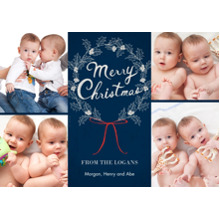 Christmas Photo Cards 5x7 Cards, Premium Cardstock 120lb with Elegant Corners, Card & Stationery -Pretty Merry Christmas Wreath