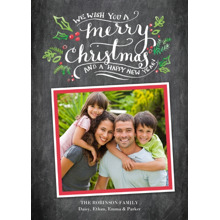 Christmas Photo Cards 5x7 Cards, Premium Cardstock 120lb with Scalloped Corners, Card & Stationery -Christmas Calligraphy