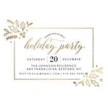 Christmas Party Invitations 5x7 Cards, Premium Cardstock 120lb with Rounded Corners, Card & Stationery -Holiday Invite Gold Foliage (5x7)