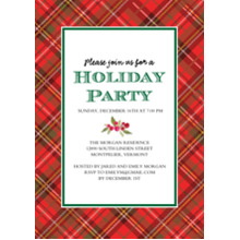 Christmas Party Invitations Flat Matte Photo Paper Cards with Envelopes, 5x7, Card & Stationery -Holiday Party Plaid