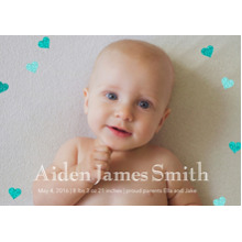 Baby Announcements Flat Matte Photo Paper Cards with Envelopes, 5x7, Card & Stationery -Blue Glitter Hearts by Posh Paper