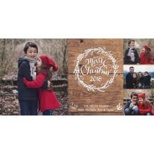 Christmas Photo Cards 4x8 Flat Card Set, 85lb, Card & Stationery -Christmas 2018 Wreath by Tumbalina