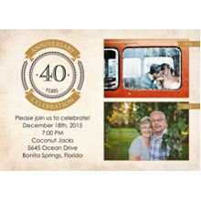 Anniversary Invitations Flat Glossy Photo Paper Cards with Envelopes, 5x7, Card & Stationery -Then and Now Anniversary