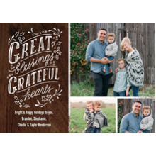 Christmas Photo Cards 5x7 Cards, Premium Cardstock 120lb with Elegant Corners, Card & Stationery -Great Blessings Grateful Hearts