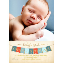 Christmas Photo Cards 5x7 Cards, Premium Cardstock 120lb with Scalloped Corners, Card & Stationery -Baby's First Christmas