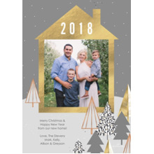 Christmas Photo Cards 5x7 Cards, Premium Cardstock 120lb with Elegant Corners, Card & Stationery -Gold & Gray House Frame