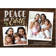 Christmas Photo Cards 5x7 Cards, Premium Cardstock 120lb with Elegant Corners, Card & Stationery -Christmas Peace on Earth Holly Snapshots by Tumbalin