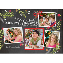Christmas Photo Cards 5x7 Cards, Premium Cardstock 120lb with Rounded Corners, Card & Stationery -Christmas Rustic Floral Frame Snapshots