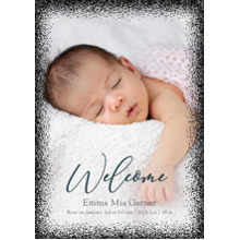 Baby Announcements Set of 20, Premium 5x7 Foil Card, Card & Stationery -Welcome Dots Border