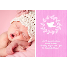 Christening + Baptism 5x7 Cards, Premium Cardstock 120lb, Card & Stationery -Wreathed Dove - Orchid