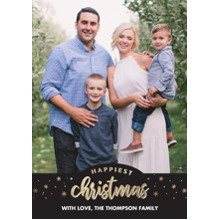 Christmas Photo Cards 5x7 Cards, Premium Cardstock 120lb with Scalloped Corners, Card & Stationery -Christmas Happiest Gold Stars