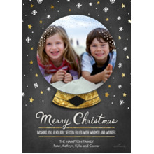 Christmas Photo Cards 5x7 Cards, Premium Cardstock 120lb with Rounded Corners, Card & Stationery -Merry Christmas Snowglobe