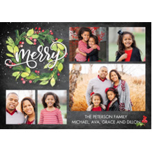 Christmas Photo Cards 5x7 Cards, Premium Cardstock 120lb with Rounded Corners, Card & Stationery -Christmas Watercolor Festive Wreath by Tumbalina