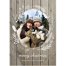 Christmas Photo Cards 5x7 Cards, Premium Cardstock 120lb with Rounded Corners, Card & Stationery -Woodsy Wreath Christmas