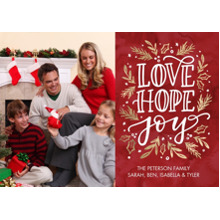Christmas Photo Cards 5x7 Cards, Premium Cardstock 120lb with Scalloped Corners, Card & Stationery -Christmas Love Hope Joy by Tumbalina