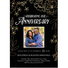 Anniversary Invitations Flat Matte Photo Paper Cards with Envelopes, 5x7, Card & Stationery -Gilded Botanicals