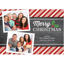 Christmas Photo Cards 5x7 Cards, Premium Cardstock 120lb with Scalloped Corners, Card & Stationery -Christmas Candy Cane Stripes