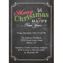 Christmas Party Invitations Flat Glossy Photo Paper Cards with Envelopes, 5x7, Card & Stationery -Christmas Invite Chalkboard
