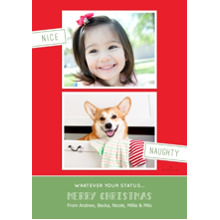 Christmas Photo Cards 5x7 Cards, Premium Cardstock 120lb with Rounded Corners, Card & Stationery -Nice and Naughty Christmas