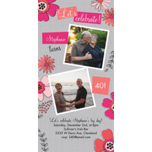 Birthday Party Invites 4x8 Flat Card Set, 85lb, Card & Stationery -Pink Posie