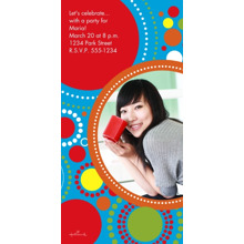 Birthday Party Invites 4x8 Flat Card Set, 85lb, Card & Stationery -Bright Circles