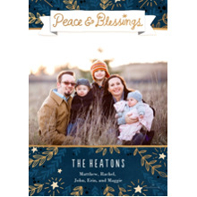 Christmas Photo Cards 5x7 Cards, Premium Cardstock 120lb with Rounded Corners, Card & Stationery -Peace and Blessings
