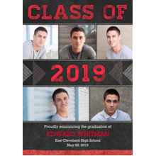 2019 Graduation Announcements 5x7 Cards, Premium Cardstock 120lb with Rounded Corners, Card & Stationery -2019 Textured Triangles by Hallmark