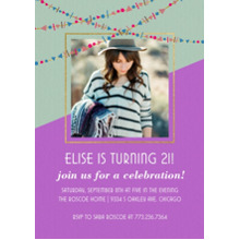 Birthday Party Invites 5x7 Cards, Premium Cardstock 120lb, Card & Stationery -Birthday Celebration Funky Garland Inv