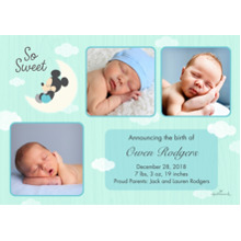 Baby Boy Announcements 5x7 Cards, Premium Cardstock 120lb with Scalloped Corners, Card & Stationery -So Sweet Moon - Mickey Mouse