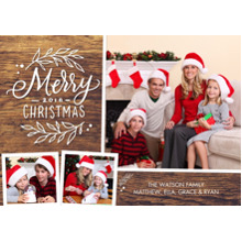 Christmas Photo Cards 5x7 Cards, Premium Cardstock 120lb with Rounded Corners, Card & Stationery -Christmas 2018 Gold Foliage by Tumbalina