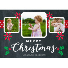 Christmas Photo Cards 5x7 Cards, Premium Cardstock 120lb with Scalloped Corners, Card & Stationery -Chalk Poinsettia by Posh Paper