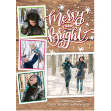 Christmas Photo Cards 5x7 Cards, Premium Cardstock 120lb with Elegant Corners, Card & Stationery -Christmas Merry and Bright Handwritten by Tumbalina