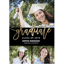 2019 Graduation Announcements 5x7 Cards, Premium Cardstock 120lb with Scalloped Corners, Card & Stationery -Grad 2019 Handwritten by Tumbalina