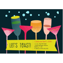 Birthday Party Invites 5x7 Cards, Premium Cardstock 120lb with Rounded Corners, Card & Stationery -Lets Toast!