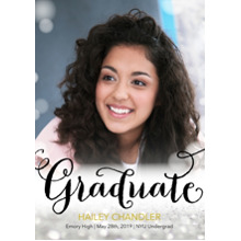 2019 Graduation Announcements 5x7 Cards, Premium Cardstock 120lb with Scalloped Corners, Card & Stationery -Bokeh Grad by Posh Paper