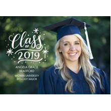 2019 Graduation Announcements 5x7 Cards, Premium Cardstock 120lb with Scalloped Corners, Card & Stationery -2019 Grad Gold Stars by Tumbalina