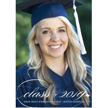 2019 Graduation Announcements 5x7 Cards, Premium Cardstock 120lb with Rounded Corners, Card & Stationery -2019 Class Elegant by Tumbalina