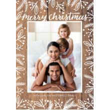 Christmas Photo Cards 5x7 Cards, Premium Cardstock 120lb with Elegant Corners, Card & Stationery -Christmas Rustic White Floral