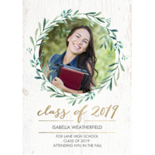 2019 Graduation Announcements 5x7 Cards, Premium Cardstock 120lb with Scalloped Corners, Card & Stationery -2019 Grad Wreath by Tumbalina