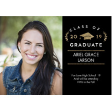 2019 Graduation Announcements 5x7 Cards, Premium Cardstock 120lb with Rounded Corners, Card & Stationery -2019 Grad Laurel by Tumbalina
