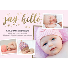 Baby Girl Announcements 5x7 Cards, Premium Cardstock 120lb with Rounded Corners, Card & Stationery -Baby Pink Hello